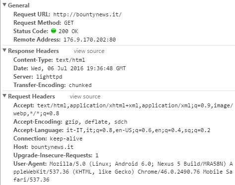 Codici di stato http-header richiesta e risposta