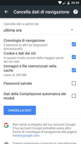 Come velocizzare chrome su android-cache
