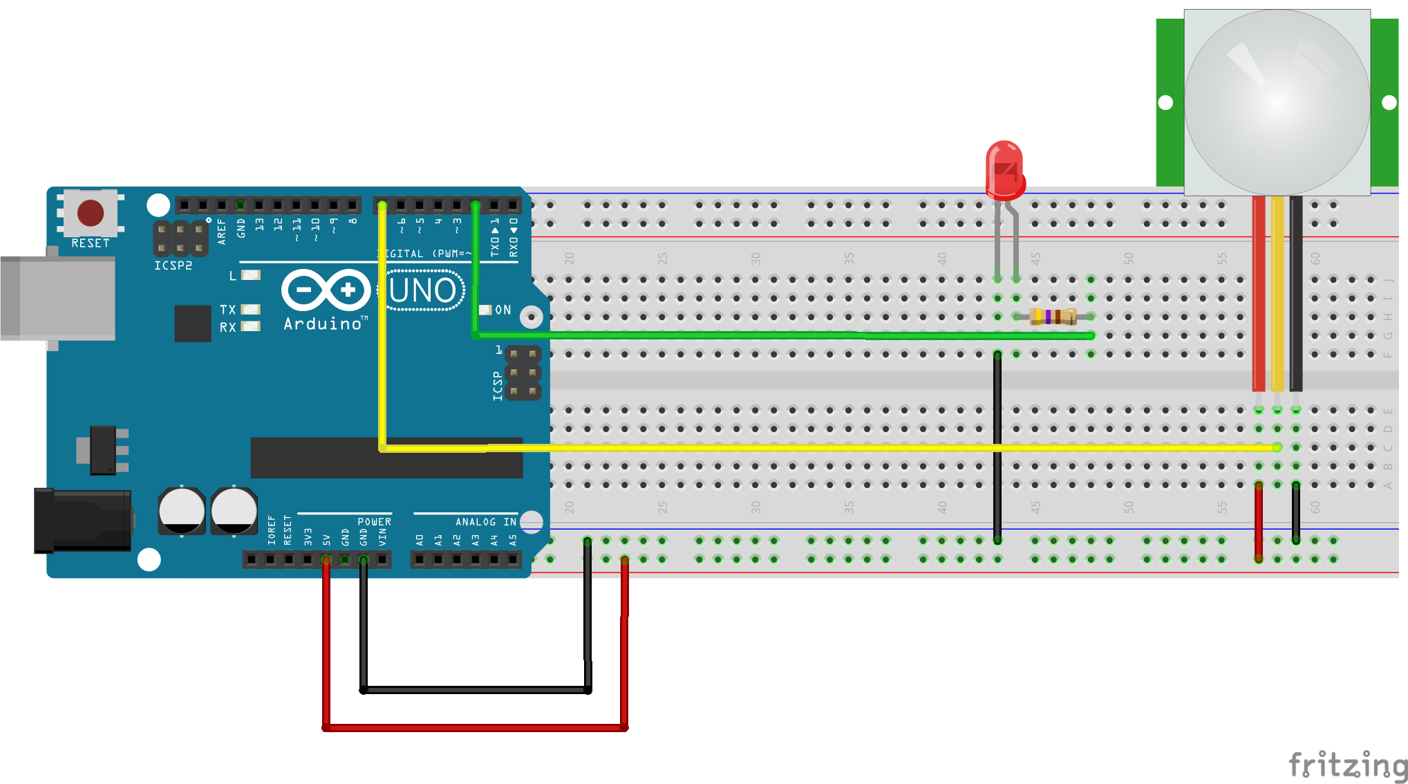 usare i PIR con Arduino-collegamento con Arduino Fritzing